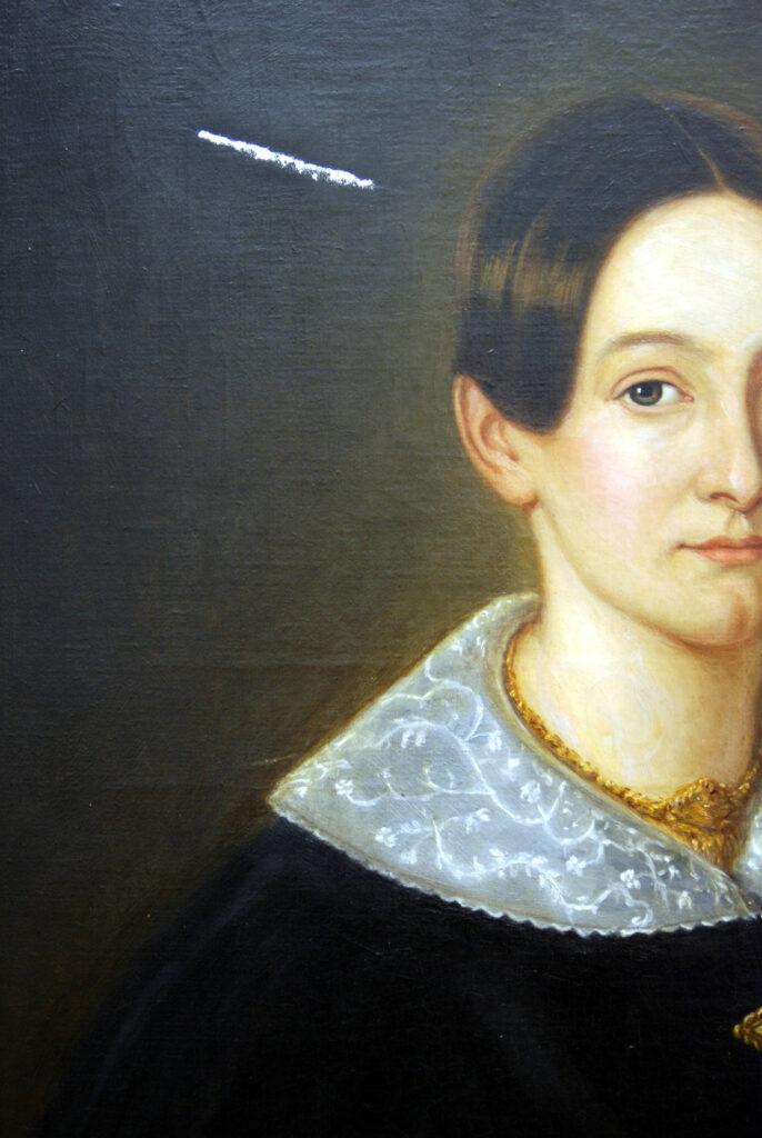 Damenporträt mit Kittung