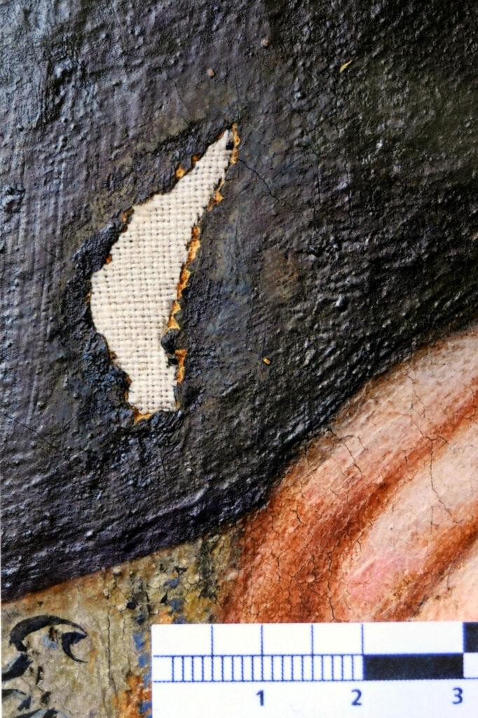 Gemälde Porträt Anna Detharding, Gewebeintarsie