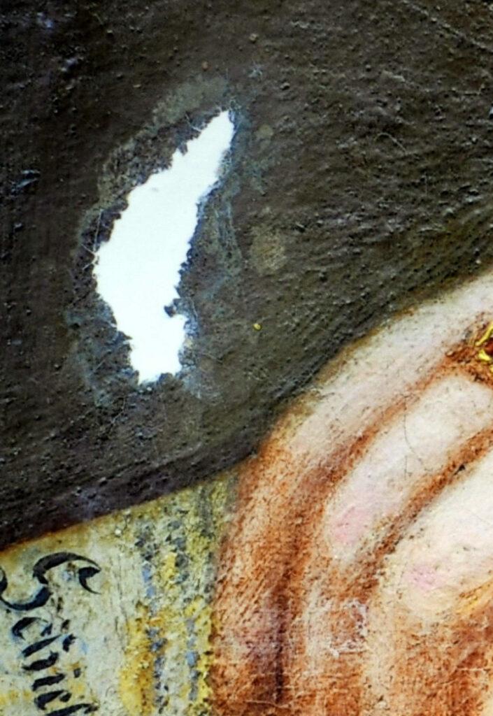 Gemälde Porträt Anna Detharding, Kittung der Fehlstelle in der Leinwand