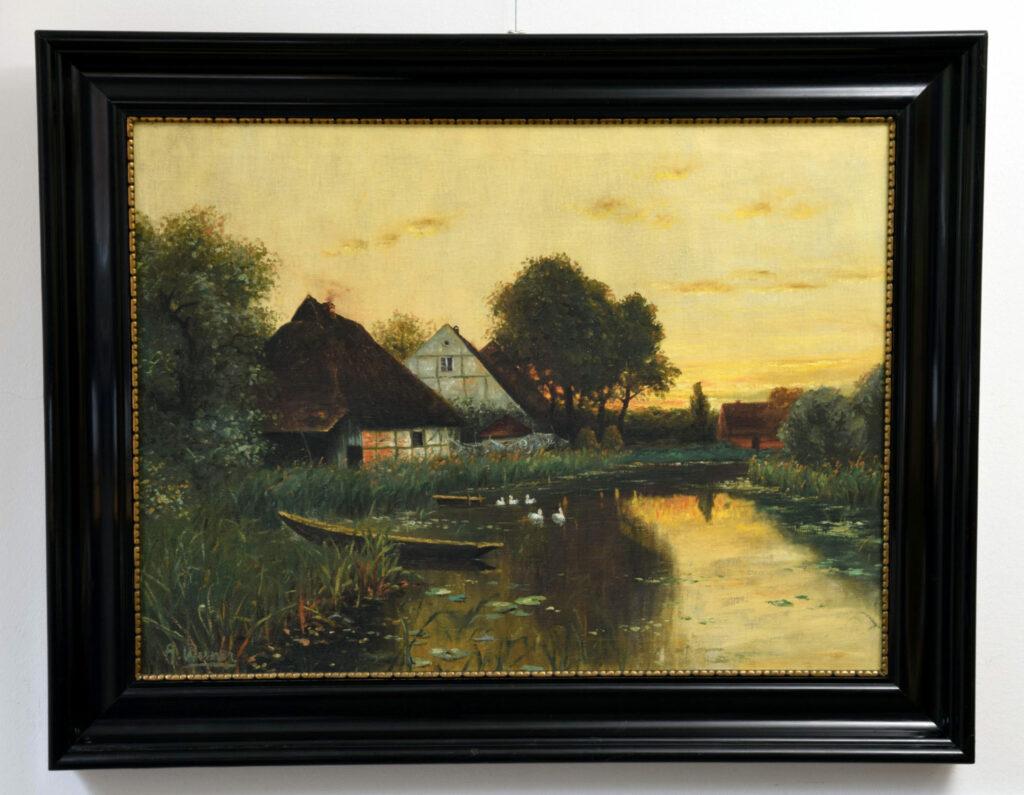 Gemälde A. Werner, Abendstimmung am Dorfteich nach der Restaurierung
