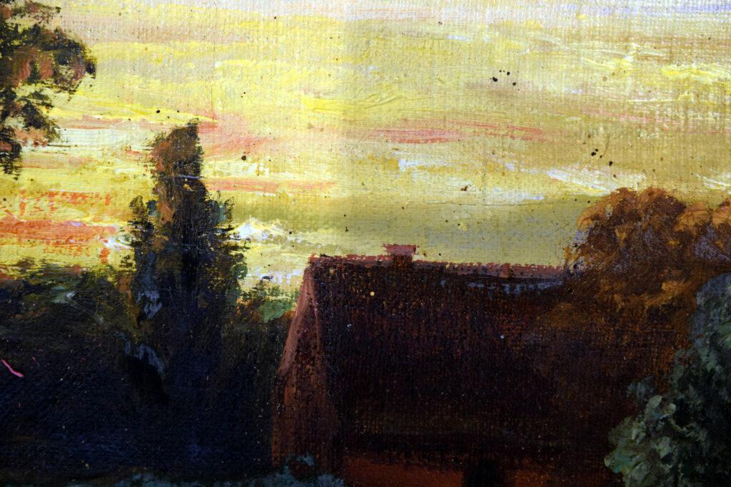 Gemälde A. Werner, Abendstimmung am Dorfteich, Detail während der Reinigung