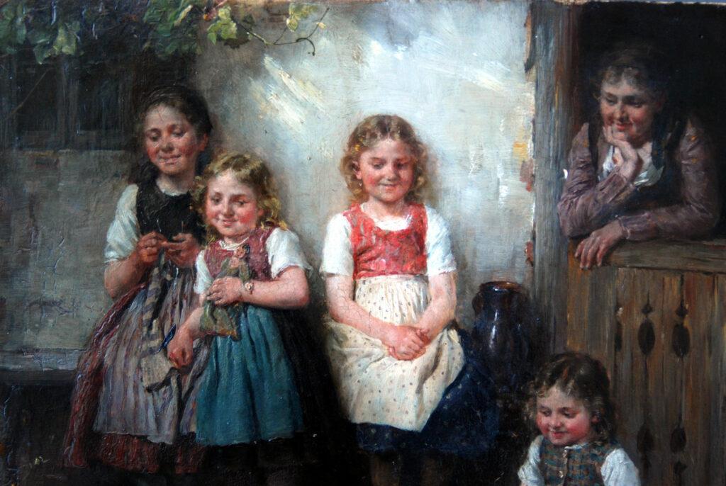 Gemälde Johann Sperl, Jugend am Spiel, Detail während der Reinigung