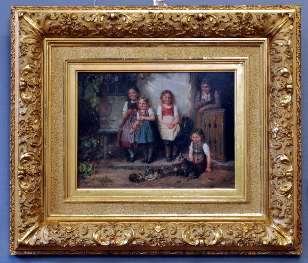 Gemälde Johann Sperl, Jugend am Spiel nach der Restaurierung