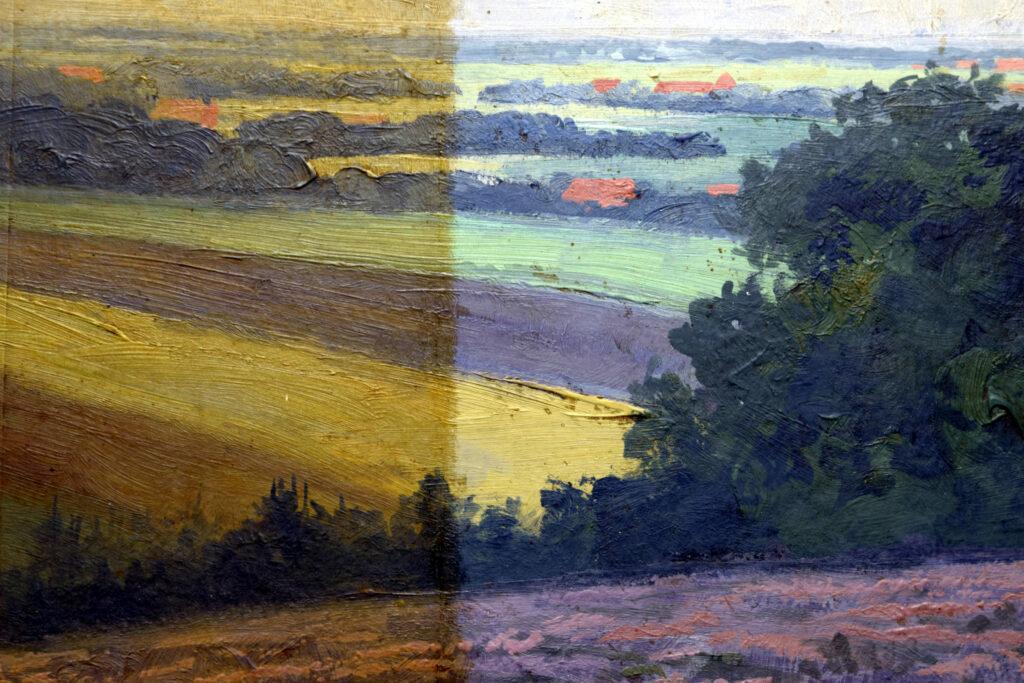 Gemälde Oskar Kiecker, Brelinger Berg, Detail während der Reinigung
