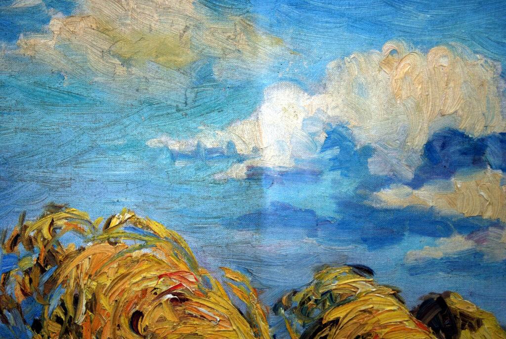 Gemälde Marie Hager, Strohhaufen während der Reinigung und Entfernung der gedunkelten Retuschen