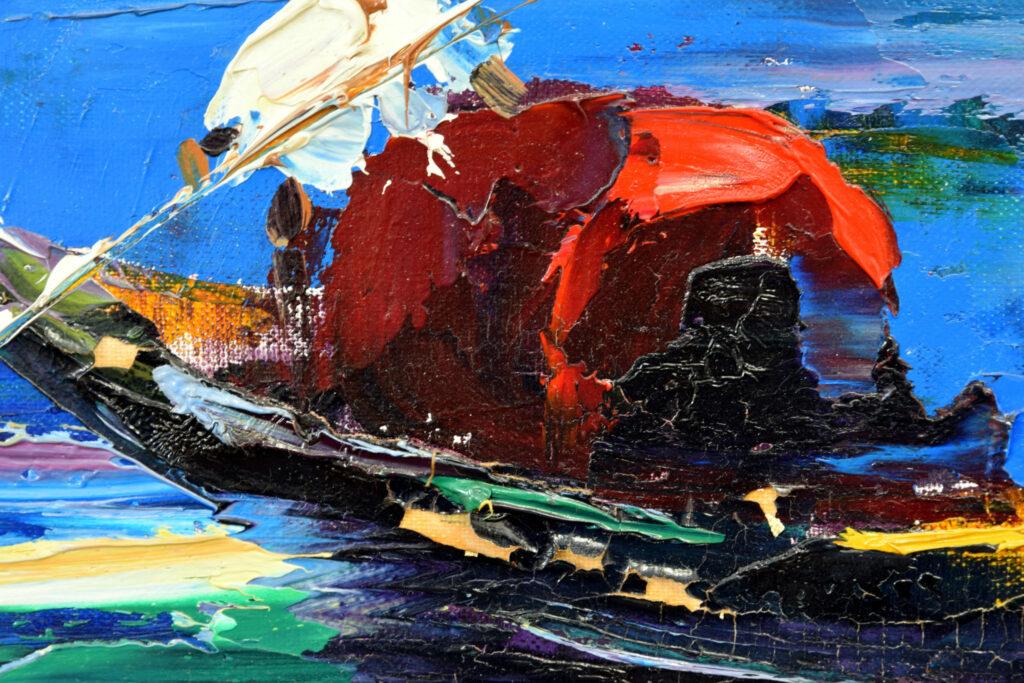 Gemälde von John Berfort, Venedig Detail mit Malschichtabhebungen und Fehlstellen