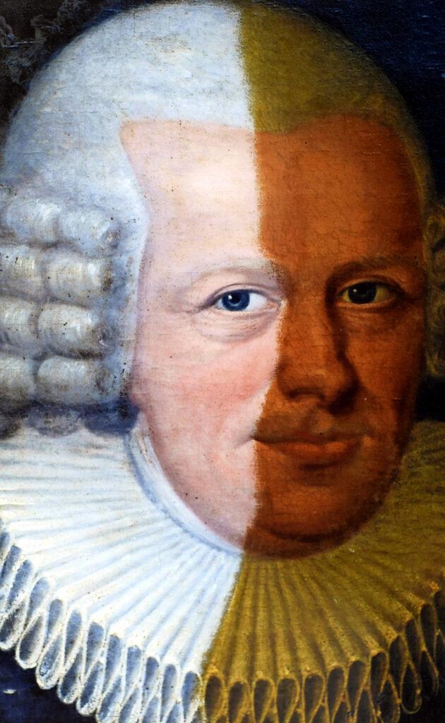 Gemälde Porträt Georg Friedrich Herzog Detail während der Reinigung und Firnisabnahme