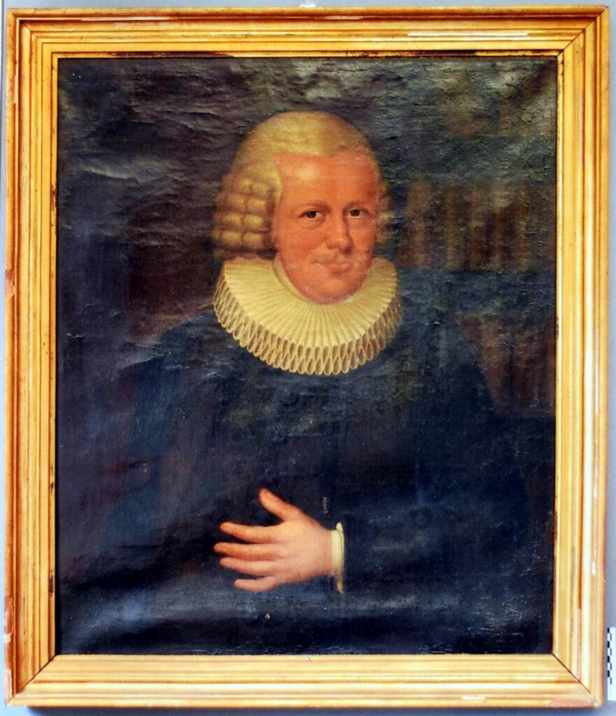 Gemälde Porträt Georg Friedrich Herzog Detail vor der Restaurierung